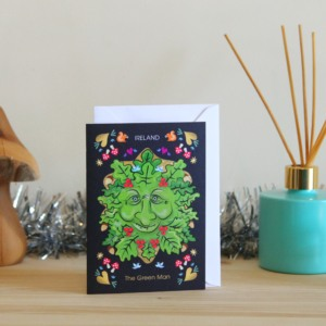 Christmas card the Irish Green Man