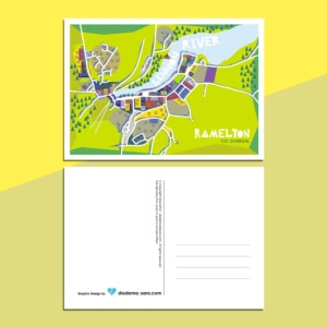 Ramelton_Map_Postcard_River_Lennon
