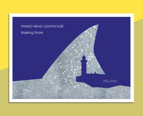 Postcard Fanad Lighthouse - Basking Shark