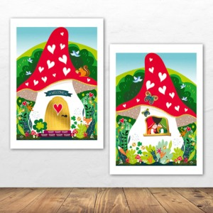 Signed Print Gnomes Home